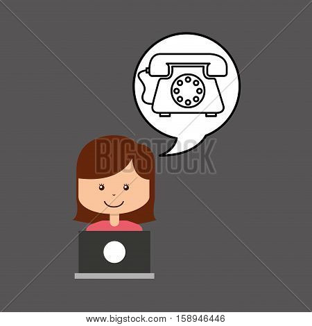 support assitance concept girl with helping telephone vector illustration eps 10