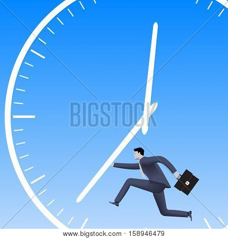 Speed up the process business concept. Confident businessman in business suit with case running and pushing clock handles. High speed business time to success conversion speed up process.