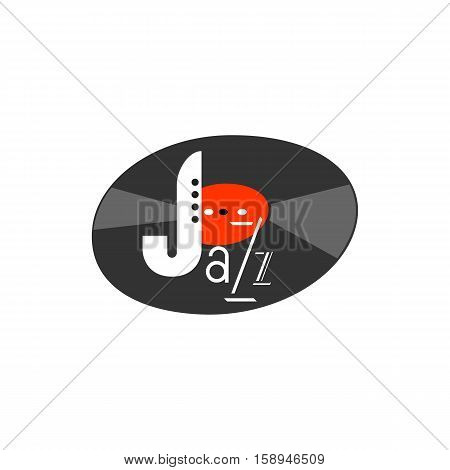 Vintage music icon concept. Freehand drawn style jazz logo. Musical instrument emblem. Vector saxophone symbol. Abstract sax sign for festival banner background. Stylized retro vinyl record element