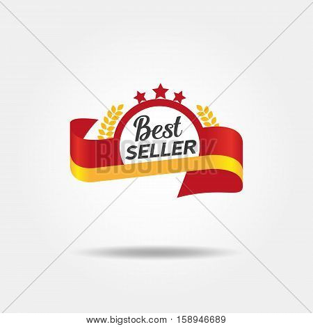 Best seller badge icon isolated concept. Freehand drawn logo sign template. Round wreath shape frame with stars and red ribbon emblem. Vector design idea of retail advertisement label symbol