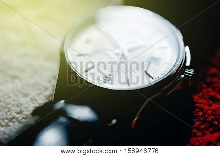 Super macro detail of swiss made watch shot with macro lens luxury male accessory for business