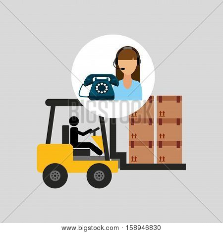 call centre woman working carrying boxes vector illustration eps 10