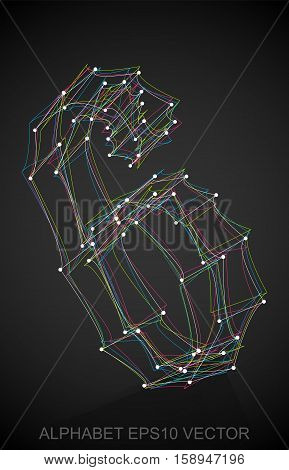 Abstract illustration of a Multicolor sketched number six with Reflection. Hand drawn 3D 6 for your design. EPS 10 vector illustration.