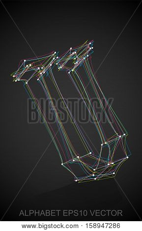 Abstract illustration of a Multicolor sketched uppercase letter U with Reflection. Hand drawn 3D U for your design. EPS 10 vector illustration.