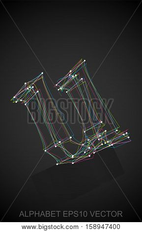 Abstract illustration of a Multicolor sketched lowercase letter U with Reflection. Hand drawn 3D U for your design. EPS 10 vector illustration.