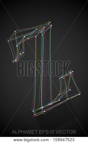 Abstract illustration of a Multicolor sketched uppercase letter Z with Reflection. Hand drawn 3D Z for your design. EPS 10 vector illustration.