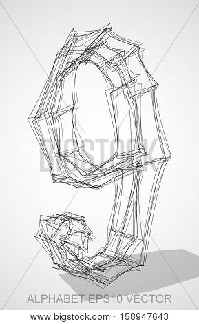 Abstract illustration of a Ink sketched number 9 with Transparent Shadow. Hand drawn 3D 9 for your design. EPS 10 vector illustration.