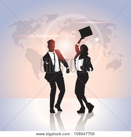 Business People Group Silhouette Excited Hold Hands Up Raised Arms, Businesswoman And Businss Man Winner Success Vector Illustration