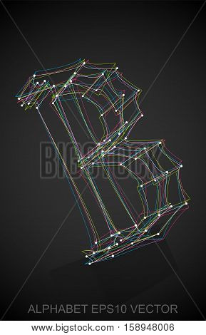 Abstract illustration of a Multicolor sketched uppercase letter B with Reflection. Hand drawn 3D B for your design. EPS 10 vector illustration.