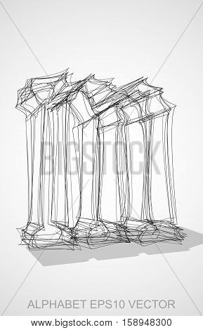 Abstract illustration of a Ink sketched lowercase letter M with Transparent Shadow. Hand drawn 3D M for your design. EPS 10 vector illustration.