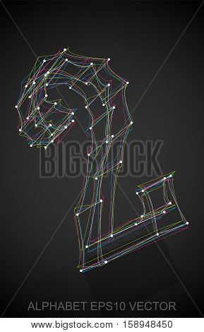 Abstract illustration of a Multicolor sketched number two with Reflection. Hand drawn 3D 2 for your design. EPS 10 vector illustration.