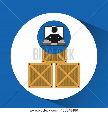 delivery call centre operator online boxes vector illustration eps 10