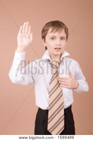 Young Businessman Taking An Oath