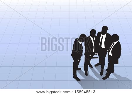 Silhouette Black Business People Group Standing Top Angle View, Businessman Colleague Team Banner With Copy Space Flat Vector Illustration