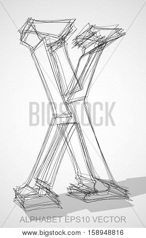 Abstract illustration of a Ink sketched uppercase letter X with Transparent Shadow. Hand drawn 3D X for your design. EPS 10 vector illustration.