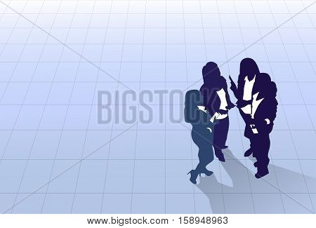 Silhouette Black Business People Group Standing Top Angle View, Businesspeople Colleague Team Banner With Copy Space Flat Vector Illustration