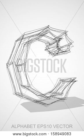 Abstract illustration of a Ink sketched lowercase letter C with Transparent Shadow. Hand drawn 3D C for your design. EPS 10 vector illustration.