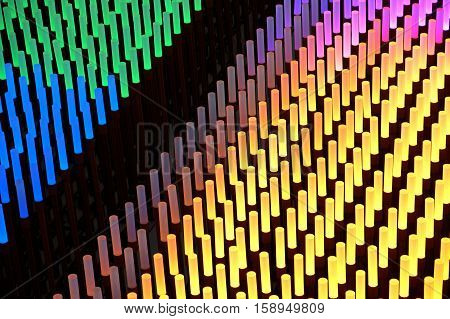 Colorful fluorescent light neon on black background.