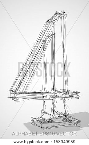 Abstract illustration of a Ink sketched number four with Transparent Shadow. Hand drawn 3D 4 for your design. EPS 10 vector illustration.