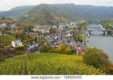 View of the town of Cochem from Cochem Imperial Castle in autumn, Germany