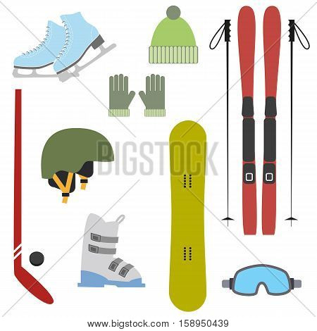 Winter colorful sports icons on white background. Set of winter sports equipment. Vector illustration.