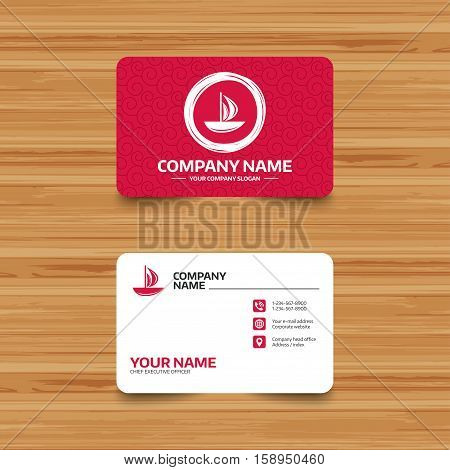 Business card template with texture. Sail boat icon. Ship sign. Shipment delivery symbol. Phone, web and location icons. Visiting card  Vector