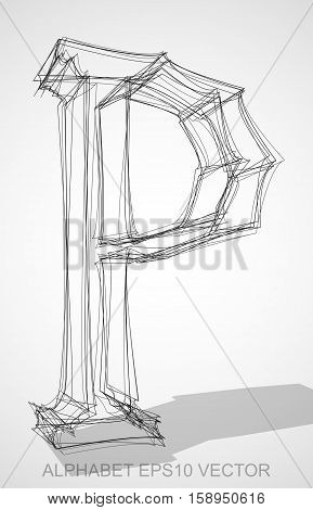 Abstract illustration of a Ink sketched uppercase letter P with Transparent Shadow. Hand drawn 3D P for your design. EPS 10 vector illustration.