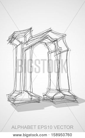 Abstract illustration of a Ink sketched lowercase letter N with Transparent Shadow. Hand drawn 3D N for your design. EPS 10 vector illustration.