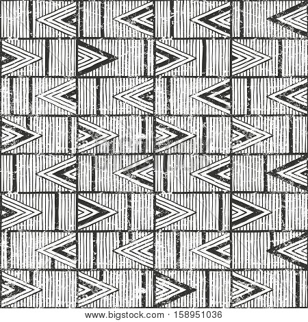 Seamless tribal pattern with grunge effect. Hand drawn background. EPS10 vector illustration.