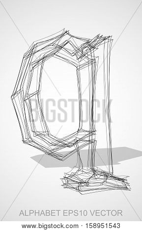 Abstract illustration of a Ink sketched lowercase letter Q with Transparent Shadow. Hand drawn 3D Q for your design. EPS 10 vector illustration.