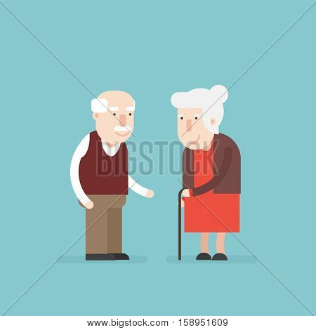 Grandmother and grandfather. Old couple. Flat character