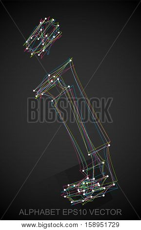 Abstract illustration of a Multicolor sketched lowercase letter J with Reflection. Hand drawn 3D J for your design. EPS 10 vector illustration.