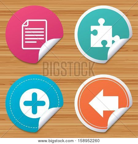 Round stickers or website banners. Plus add circle and puzzle piece icons. Document file and back arrow sign symbols. Circle badges with bended corner. Vector