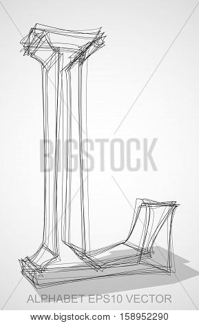 Abstract illustration of a Ink sketched uppercase letter L with Transparent Shadow. Hand drawn 3D L for your design. EPS 10 vector illustration.
