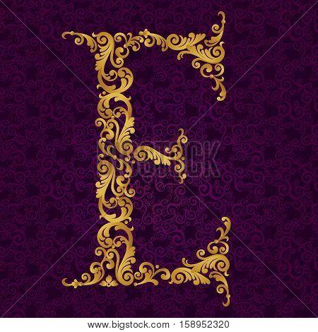 Gold Font Type Letter E, Uppercase.
