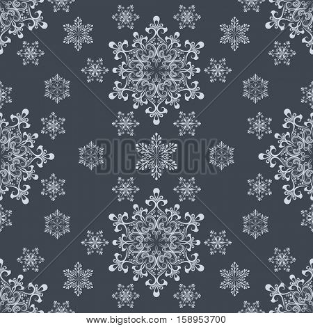 Abstract seamless white snowflake shapes on dark grey background vector pattern. Wrapping paper texture.
