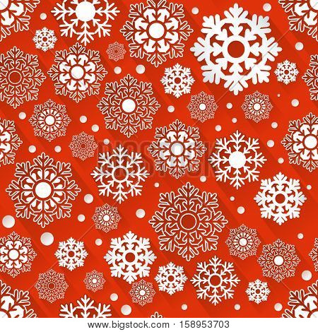 Seamless red and white snowflake vector background with 3D effect. Christmas winter pattern.