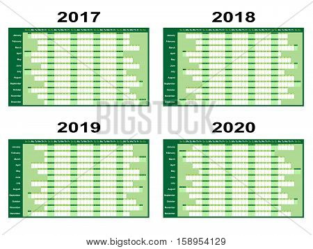 Full year wall planners for 2017 2018 2019 and 2020. Vector illustration