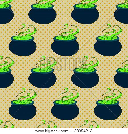 Halloween seamless pattern with the boiler and the potion on the background with dots
