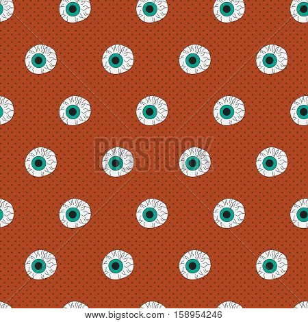 Halloween seamless pattern with eyeball vector background
