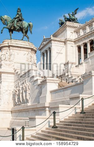 View of the national monument a Vittorio Emanuele II on the the Piazza Venezia in Rome Italy