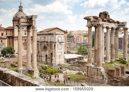 Antique Rome ruins at the Forum Romanum Italy