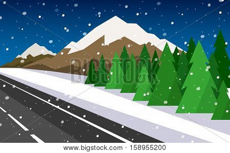 Set of winter landscapes. Vector illustration in a flat style.