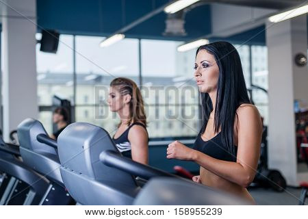 Sexy Fit Women Running On Treadmills In Modern Gym. Healthy Young Young Girls Doing Running Exercise