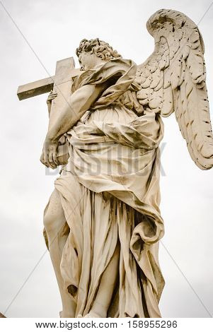 One of Bernini Angels on the ponte Sant'Angelo in Rome Italy