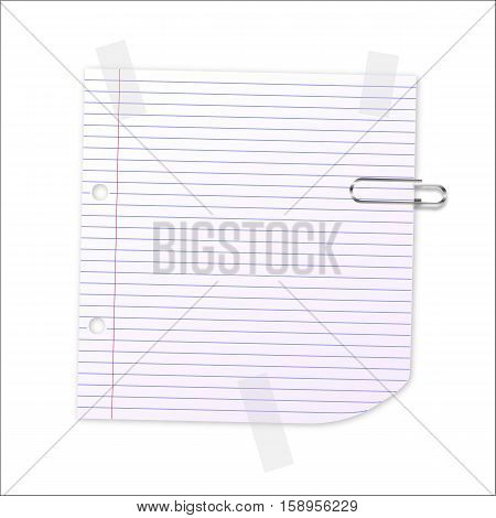 Lined writing paper with clear tape and paperclip