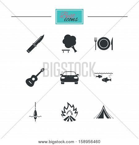 Hike trip, camping icons. Fishing, campfire and tourist tent signs. Guitar music, knife and food symbols. Black flat icons. Classic design. Vector