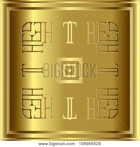 Abstract decoration frame border pattern ethnic ornament. Template design isolated elements gold
