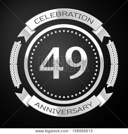 Forty nine years anniversary celebration with silver ring and ribbon on black background. Vector illustration