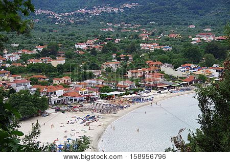 The famous golden beach of Thassos island, located in the village of Skala Potamias.